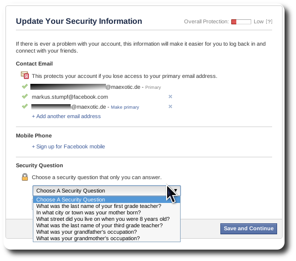Facebook - Update Your Security Information